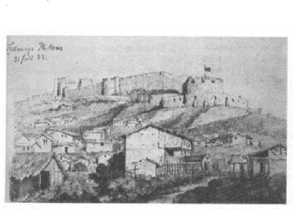 Το κάστρο της Πάτρας (1833)· από τετράδιο σχεδίων του Χριστιανού Χάνσεν.