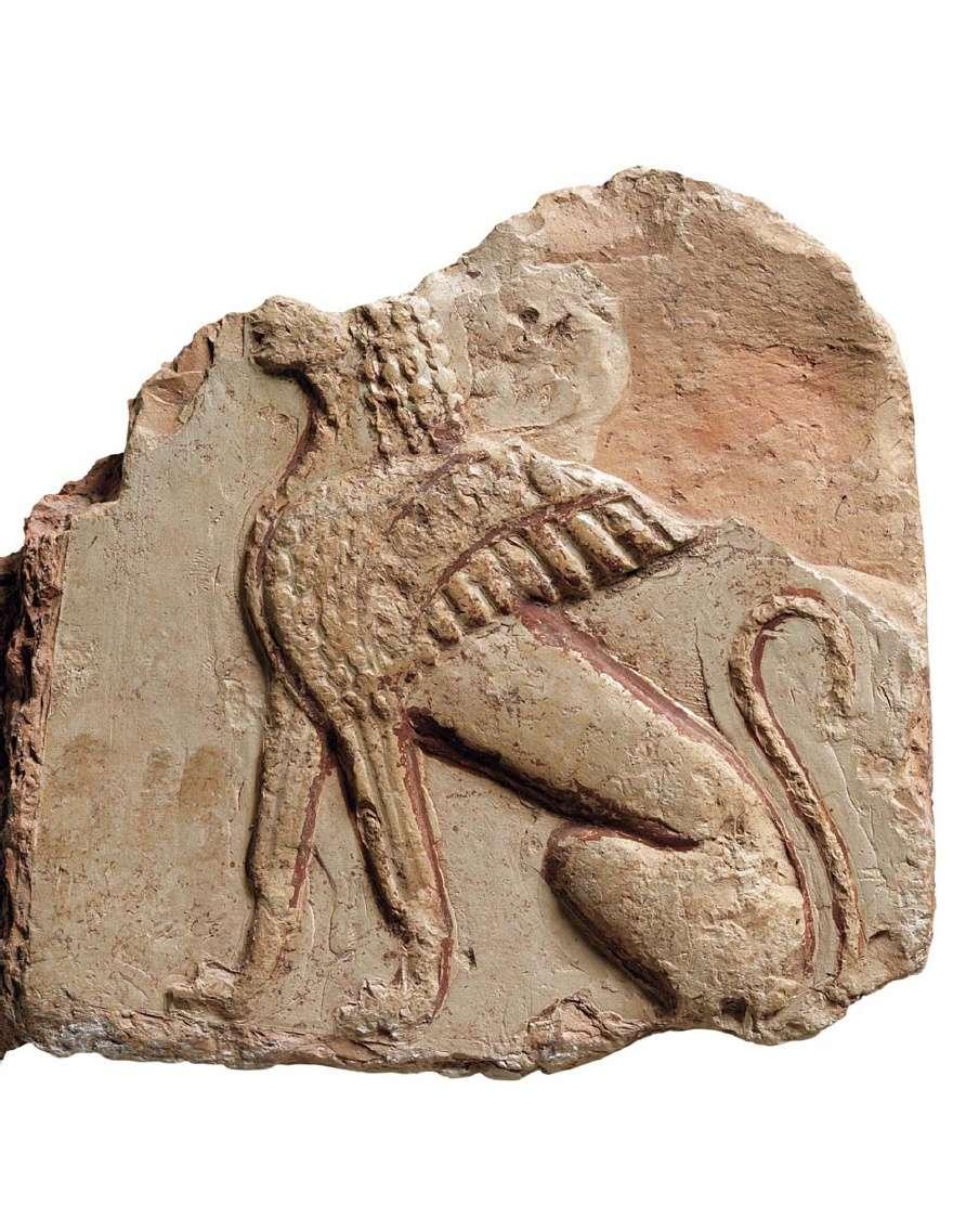 Μορφή Σφίγγας. Α' μισό του 6ου αιώνα π.Χ. Αρχαιολογικό Μουσείο Δελφών.