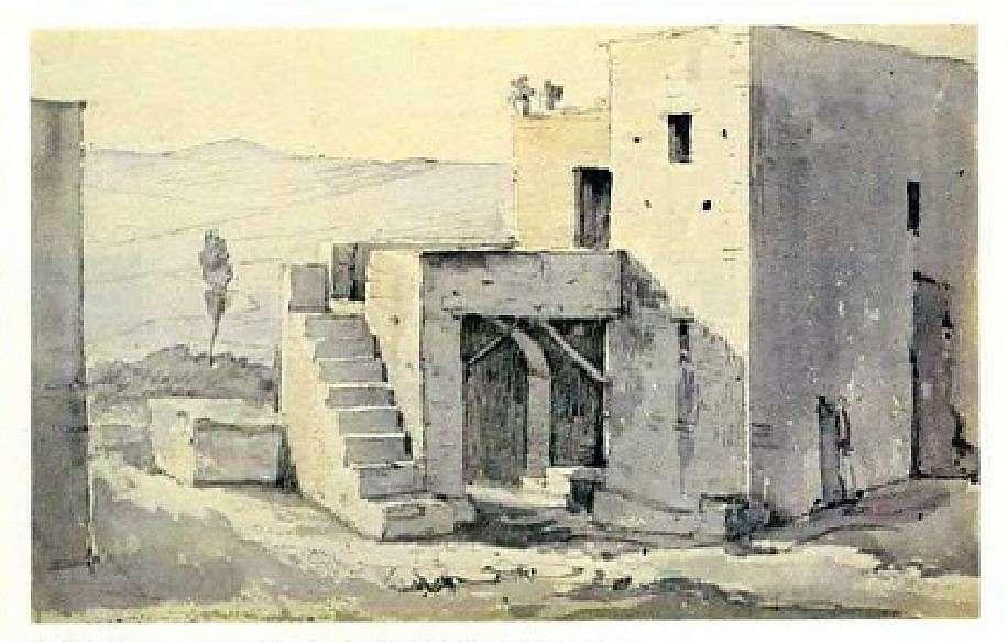 Σπίτι με σκάλα στα Θερμιά. Κύθνος· από τετράδιο σχεδίων του Χριστιανού Χάνσεν· αρχές 19ου αιώνα.