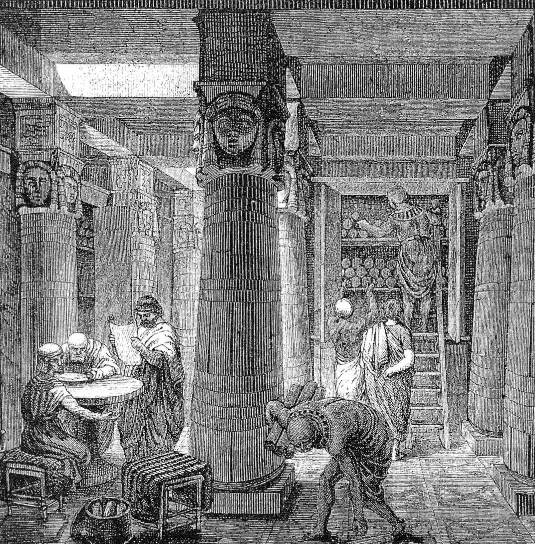 Η αρχαία βιβλιοθήκη της Αλεξάνδρειας (φανταστική απεικόνιση).