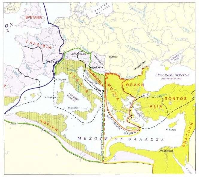 Χάρτης: Ο διαμελισμός της ρωμαϊκής αυτοκρατορίας.