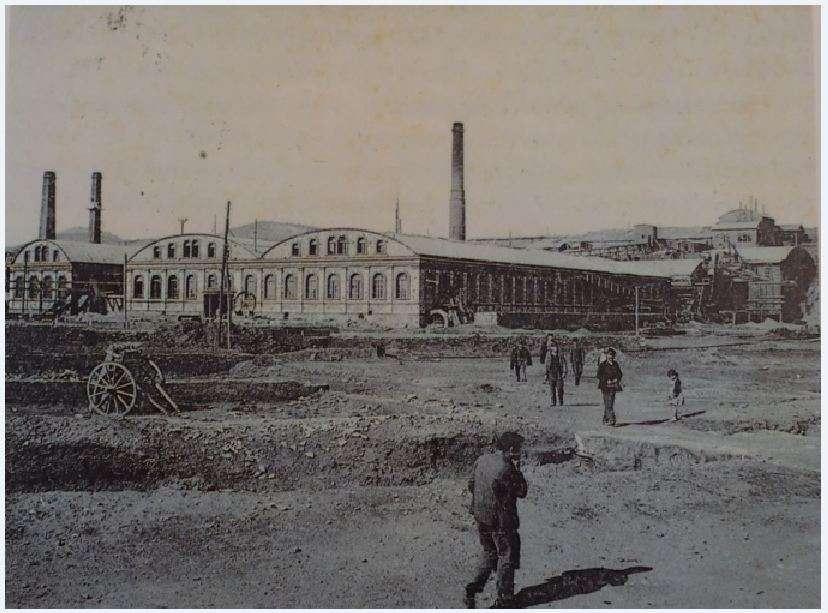 Το ατμήλατο μεταλλοπλύσιο της Ελληνικής Εταιρείας Μεταλλίων Λαυρίου. Χαλκογραφία