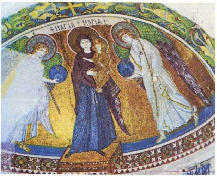 Ψηφιδωτό της Παναγίας της Αγγελόκτιστης (5ος αιώνας). Η σύνθεση είναι σύμφωνα με την ελληνιστική παράδοση. Κύπρος.