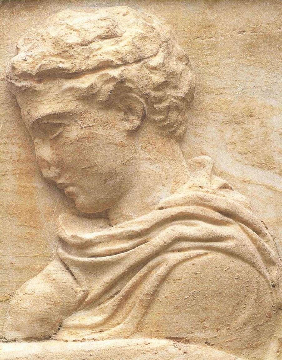 Ο 2Ος λίθος της βόρειας ζωφόρου του Παρθενώνα με νέους που οδηγούν βόδια για τη θυσία (Λεπτομέρεια). Μουσείο Ακροπόλεως. Αθήνα. The 2nd Stone of the Parthenon's northern frieze with young men leading oxen for sacrifice (Detail). Acropolis Museum. Athena.