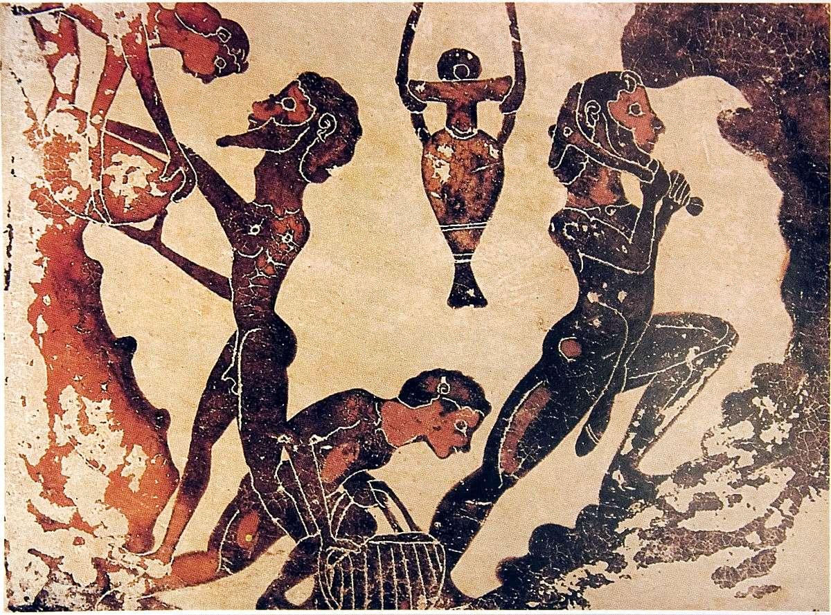Κορινθιακό αγγείο με απεικόνιση των εργαζομένων σκλάβων στα μεταλλεία Λαυρίου. 5ος π.Χ. αιώνας. Corinthian vase depicting slave workers at the Lavrion mines. 5th century BC century.