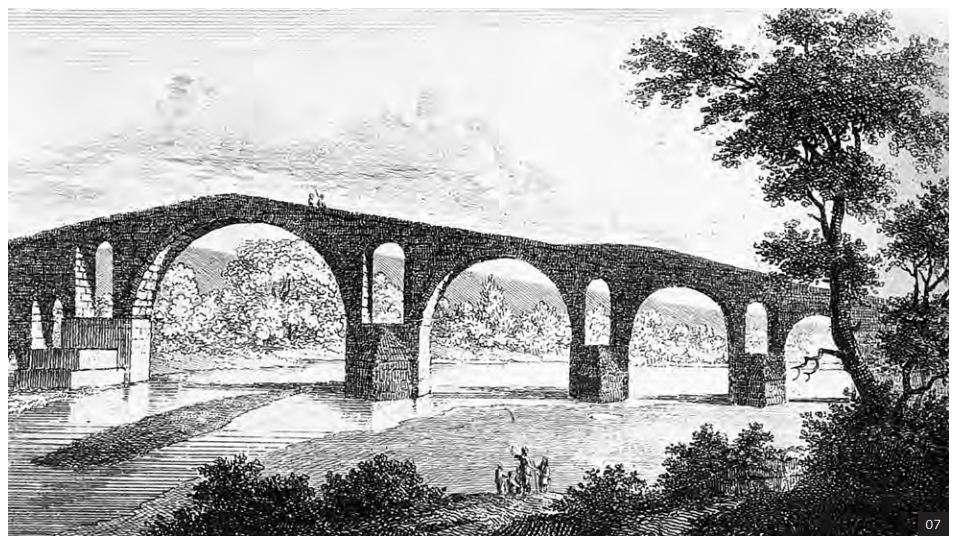 Το γεφύρι της Άρτας· γκραβούρα του W. Turner (1820).