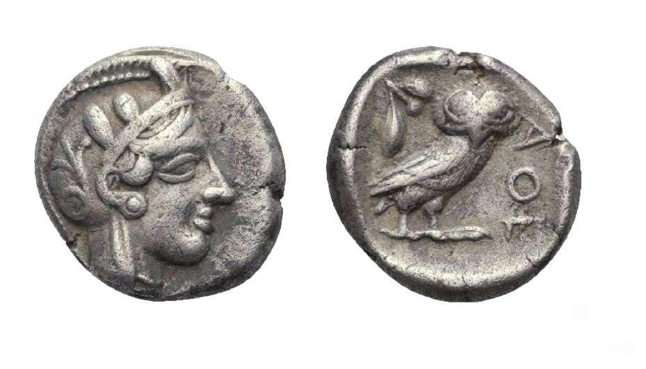 Αργυρή δραχμή της αρχαίας Αθήνας. 454-404 π.Χ. (4,17 γραμμάρια).