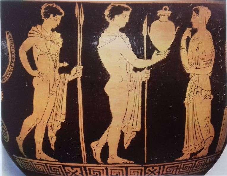 Παράσταση που αποδίδει σκηνή της τραγωδία «Ηλέκτρα» του Σοφοκλή. 4ος αιώνας μ.Χ. Βιέννη. Μουσείο Τέχνης.