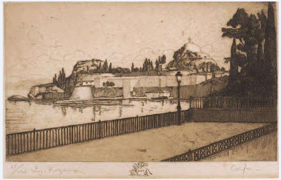 Λυκούργος Κογεβίνας (1887-1940). Κέρκυρα (Σπιανάδα). Χαλκογραφία.