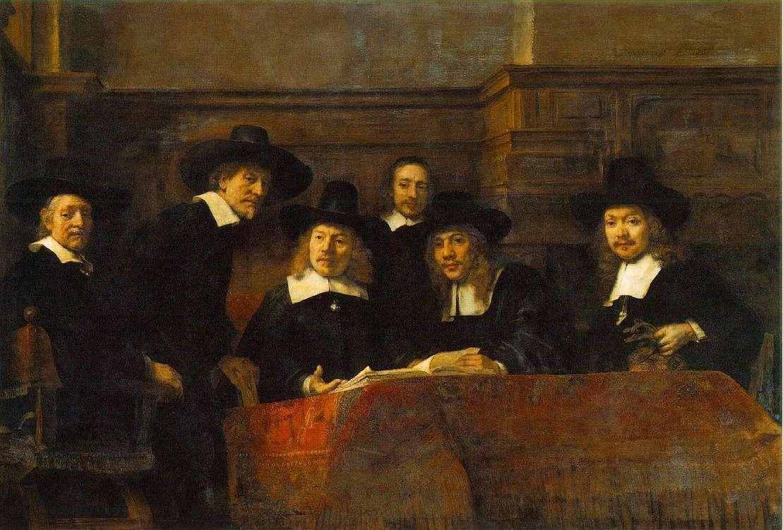 Ρέμπραντ Χάρμενσοον φαν Ράιν: Οι σύνδικοι της συντεχνίας των υφασματεμπόρων, 1662, λάδι σε μουσαμά, Άμστερνταμ, Ρέικσμουζεουμ.