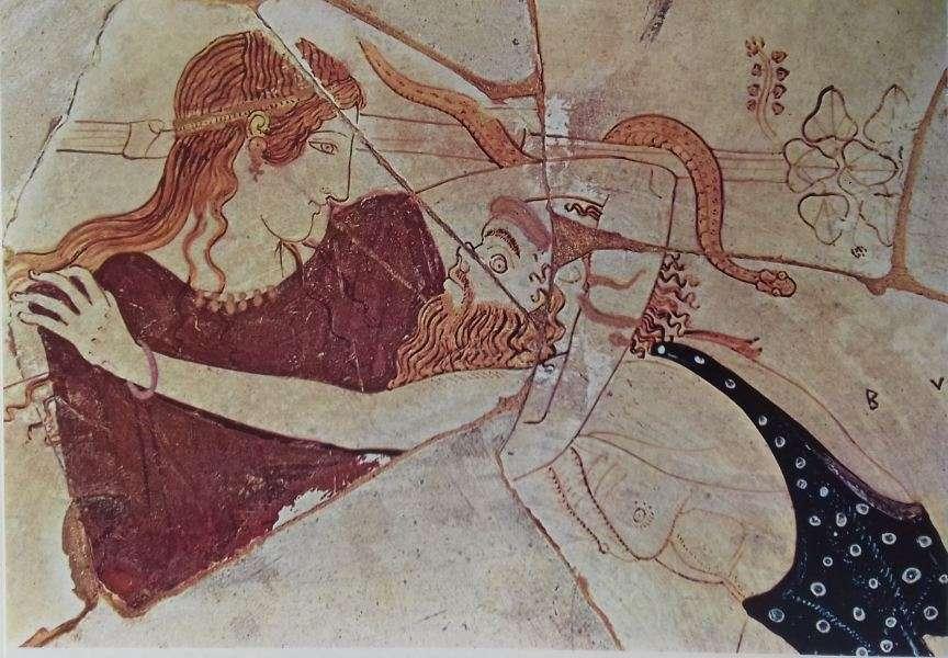 Θραύσμα λευκής κύλικας· ένας σάτυρος επιτίθεται εναντίον μιας μαινάδας. «Ζωγράφος του Πιστοξένου». Τάρας. Εθνικό Μουσείο.