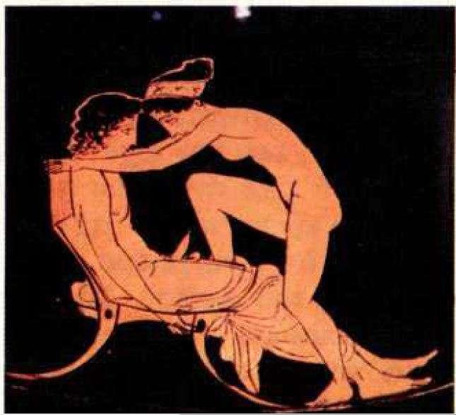Ερωτική σκηνή με ζευγάρια· τα πρόσωπα σχηματίζουν κλειστό κύκλο. Τέλος 5ου αιώνα π.Χ. Μουσείο Νεαπόλεως. Ιταλία. Erotic scene with couples; faces form a closed circle. End of the 5th century BC Museum of Neapolis. Italy.