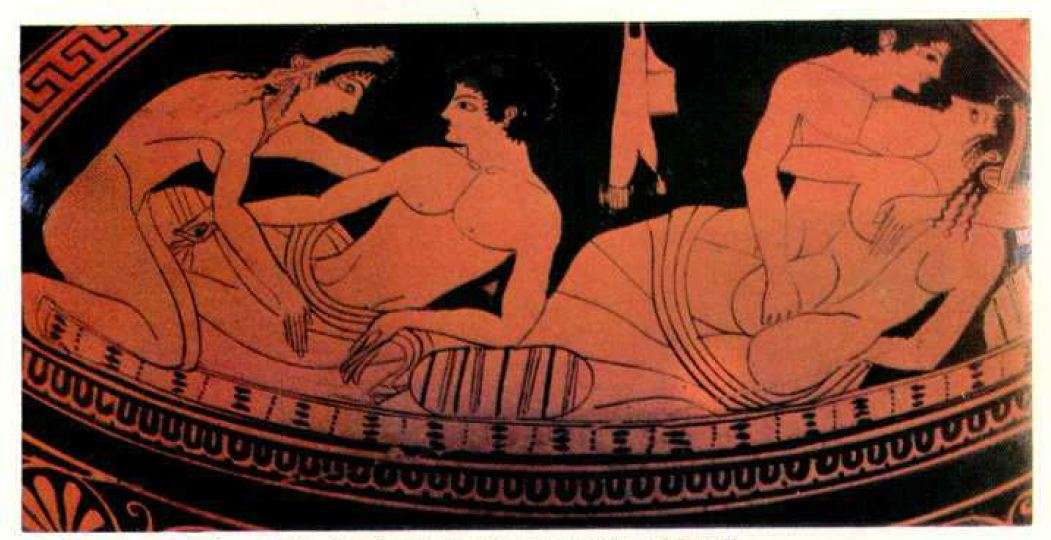 Σκηνή συμποσίου με δύο ζευγάρια. 6ος αιώνας π.Χ. Βρυξέλλες. Stage of symposium with two couples. 6th century BC Brussels.