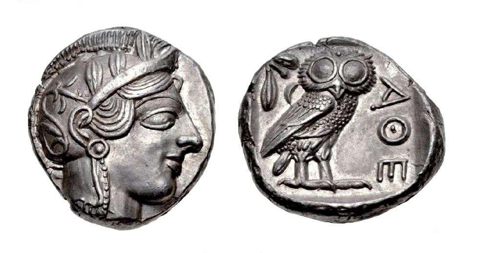 Αργυρό τετράδραχμο της αρχαίας Αθήνας. 454-404 π.Χ. (17,3 γραμμάρια).