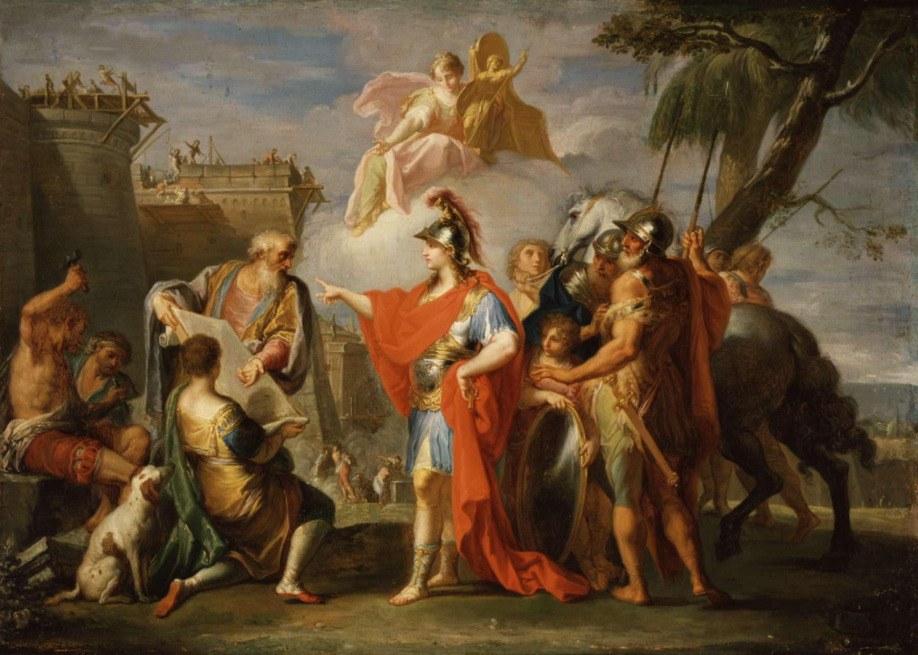 Ίδρυση της Αλεξάνδρειας την Αίγυπτο. Ο Μέγας Αλέξανδρος δίνει οδηγίες στον αρχιτέκτονα και πολεοδόµο Δεινοκράτη για τη ρυµοτοµία της πόλης. Έργο της εποχής του µπαρόκ. Placido Costanzi (1736-37).
