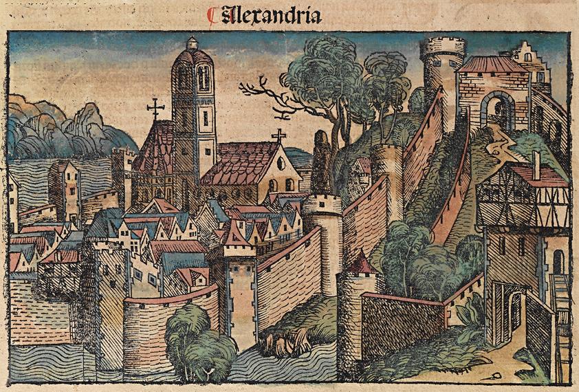 Η Αλεξάνδρεια της Αιγύπτου. Εικονογράφηση από «Το Χρονικό της Νυρεμβέργης», 1493.