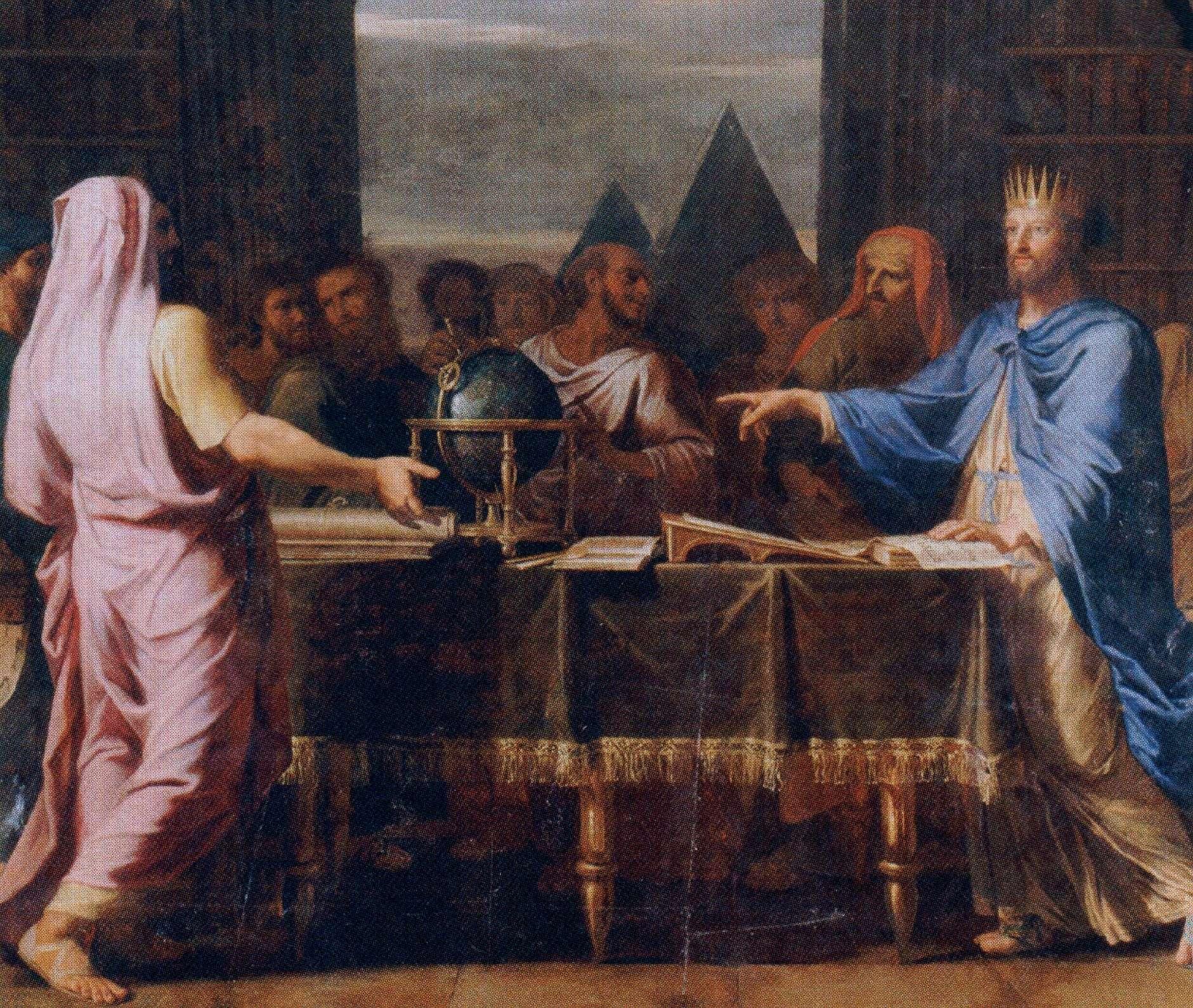 Ο βασιλιάς της Αιγύπτου Πτολεµαίος Β΄ ο Φιλάδελφος συνοµιλεί στη Βιβλιοθήκη της Αλεξάνδρειας µε του 72 εβραίους σοφούς που µμεταφράζουν τη Βίβλο στα Ελληνικά. Έργο του Jean-Baptiste de Champaigne (1672).