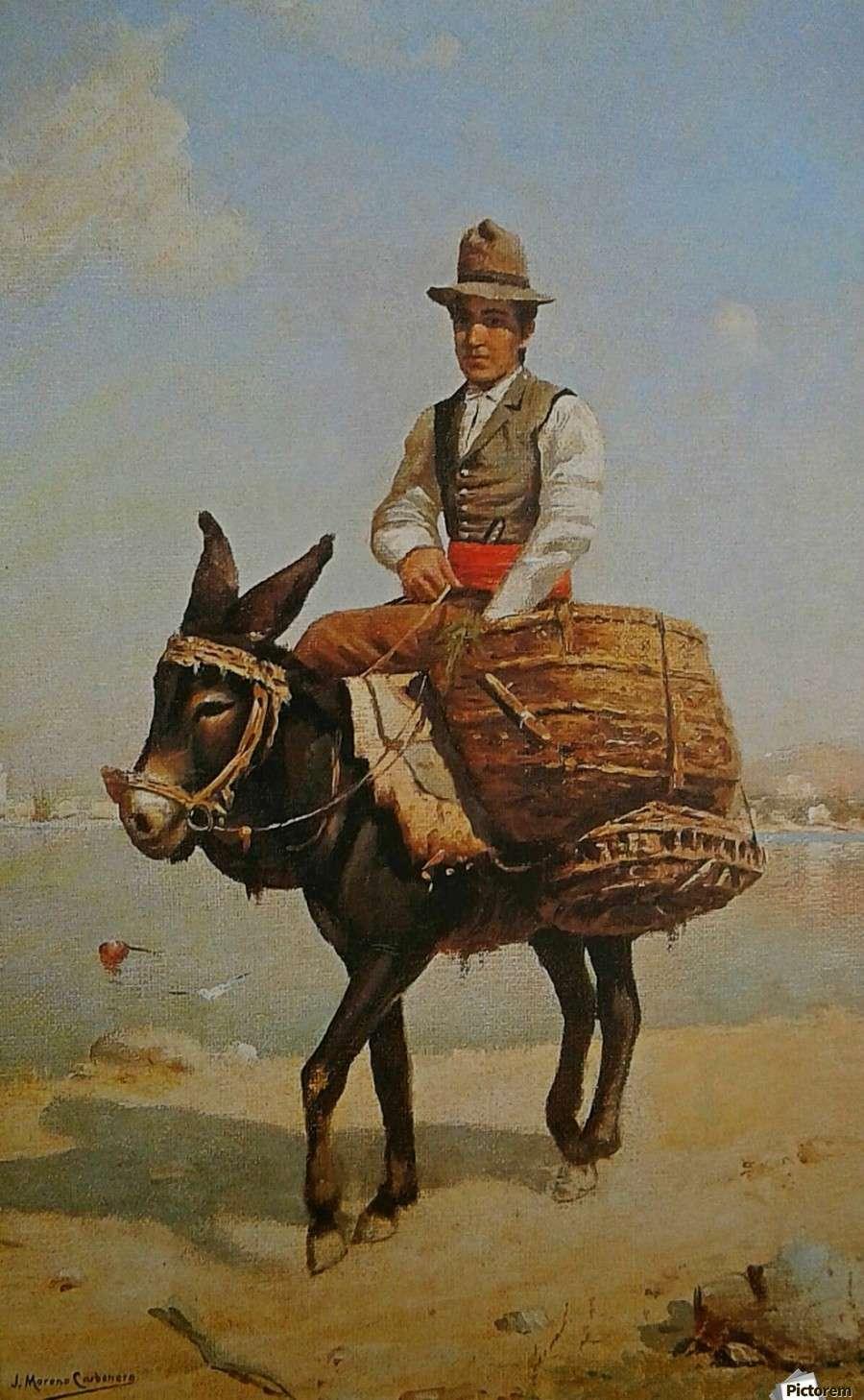 Άνδρας πάνω σε γάιδαρο. Πίνακας του Jose Moreno Carbonero.