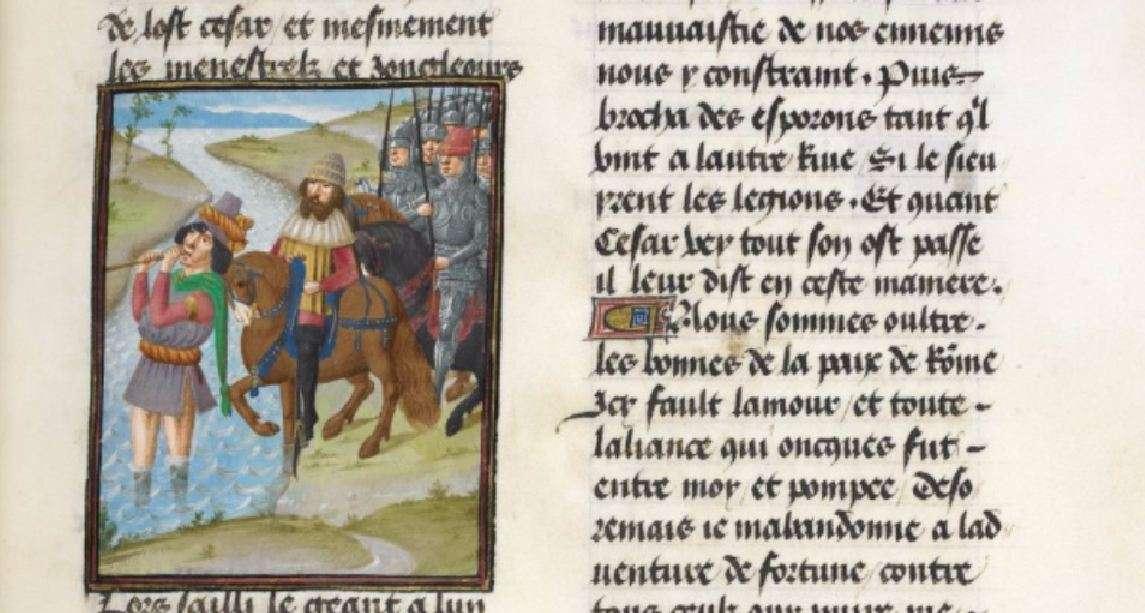 Ο Καίσαρας διασχίζει τον ποταμό Ρουβίκωνα· χειρόγραφο του 15ου αιώνα.