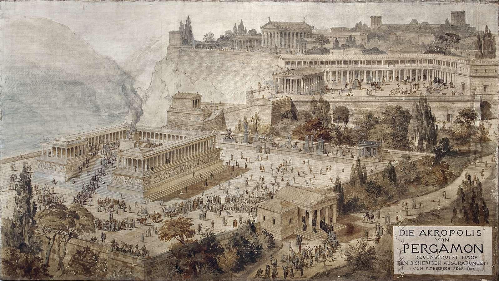 Αναπαράσταση της ακρόπολης της Περγάμου με τον βωμό όπως ήταν κατά την αρχαιότητα. Ειρηναίος Θείρσιος, 1882.