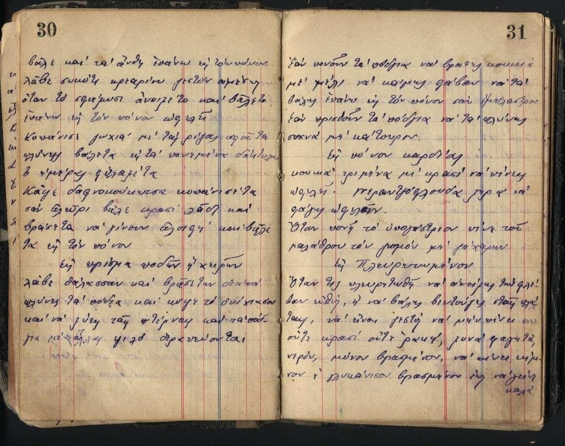 Σελίδες από το ημερολόγιο του Χριστόδουλου Σακελλαρίου