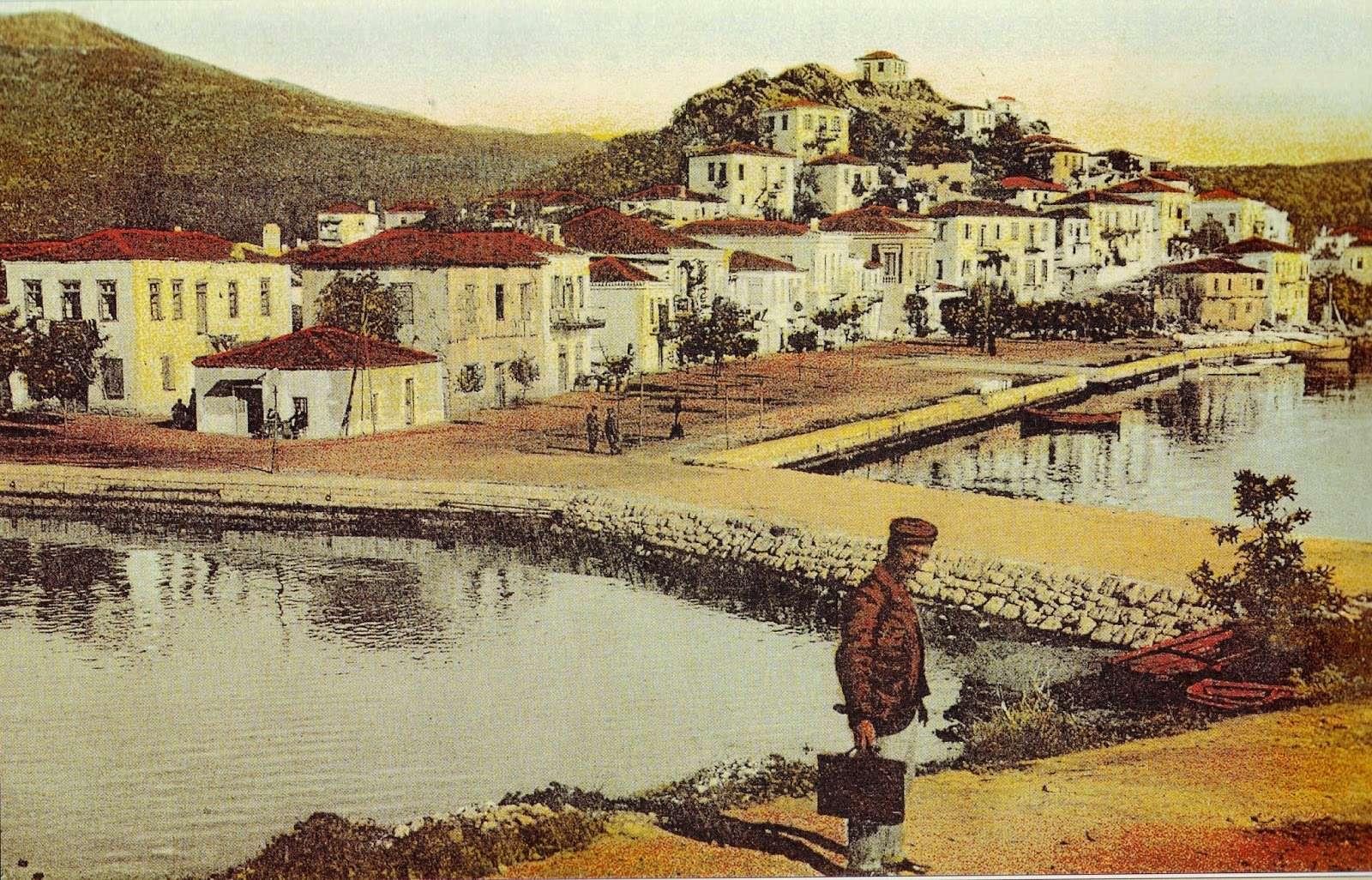 Το λιμάνι της Σκιάθου. Ταχυδρομική κάρτα – επιχρωματισμένη φωτογραφία του Στέφανου Στουρνάρα, εποχής 1910-1920.