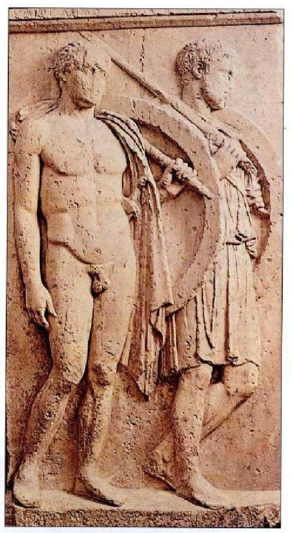 Επιτύμβια στήλη δύο πολεμιστών, του Χαιρεδήμου και του Λυκέα. Β' μισό του 5ου αιώνα π.Χ. Αρχαιολογικό Μουσείο Πειραιά.
