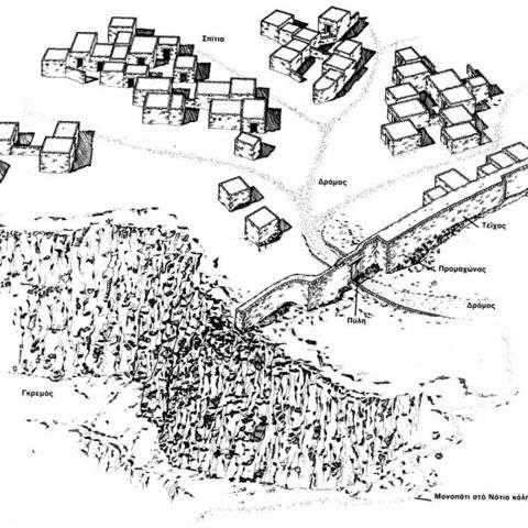 Ο οικισμός της Ζαγοράς είναι χτισμένος σε μια μικρή χερσόνησο με απότομες ακτές, που συνδέεται με το υπόλοιπο νησί με έναν στενό αυχένα· δημιουργήθηκε στα τέλη του 10ου αιώνα π.Χ., αλλά η περίοδος της ακμής του είναι ο 8ος αιώνας.