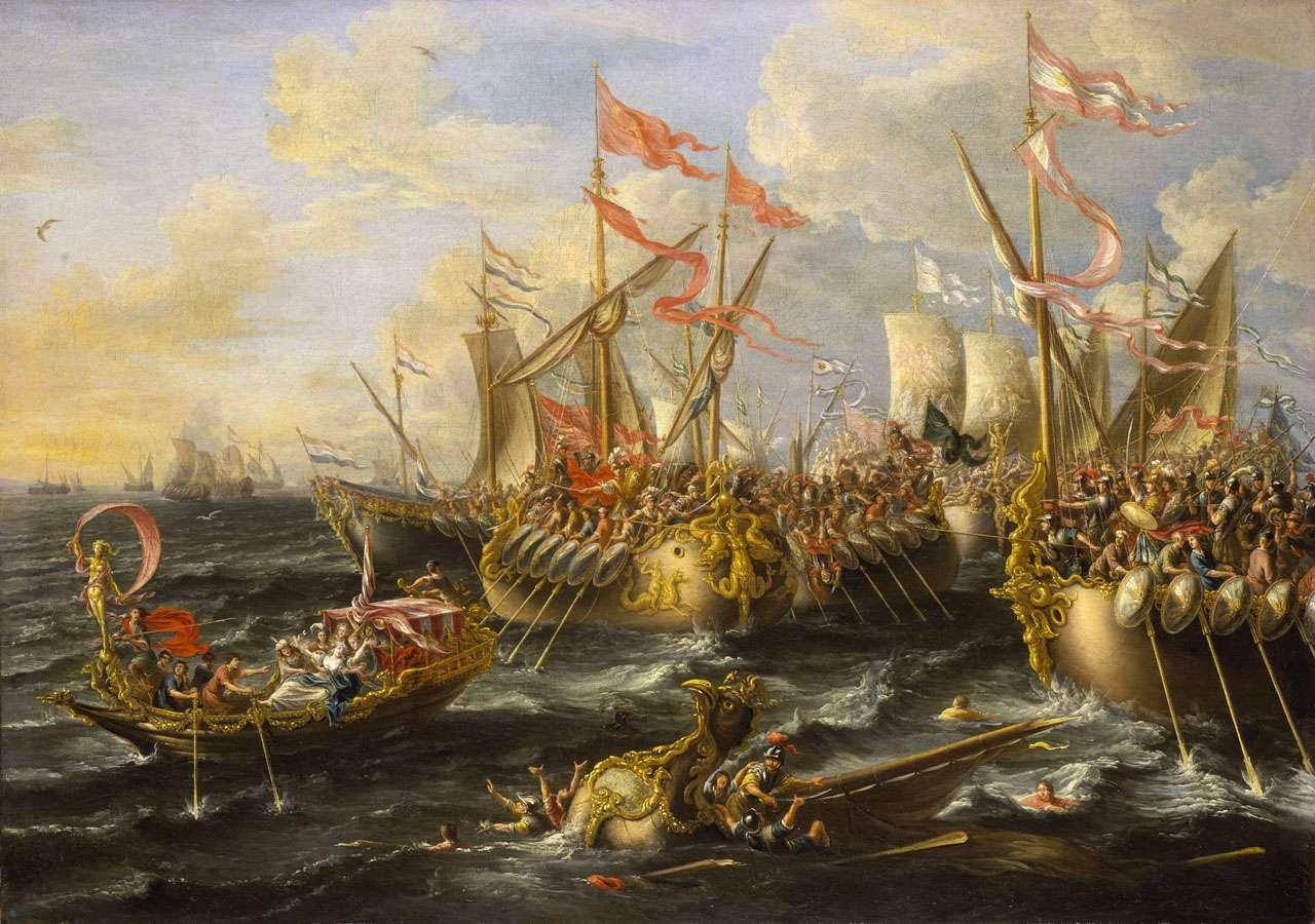 Η Ναυμαχία του Ακτίου, πίνακας του Λορέντζο Κάστρο, 1672