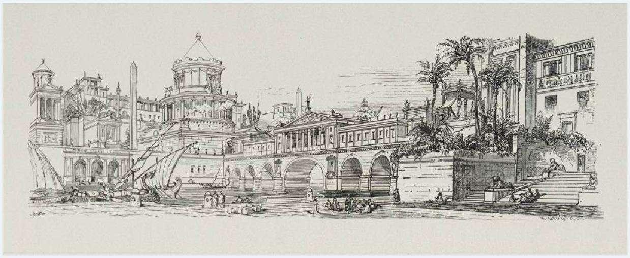 Αναπαράσταση του 19ου αιώνα που απεικονίζει περιοχή της αρχαίας Αλεξάνδρειας.