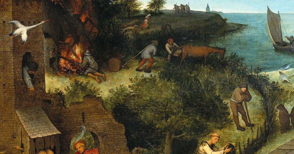 Οι Παροιμίες των Κάτω Χωρών (λεπτομέρεια)· Πίτερ Μπρίγκελ ο πρεσβύτερος, 1559.