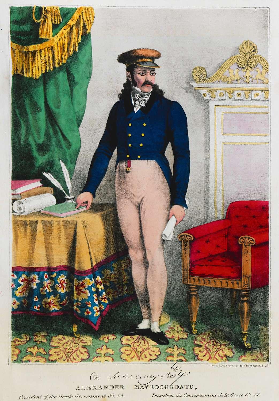 Ο Αλέξανδρος Μαυροκορδάτος (Κωνσταντινούπολη, 3 Φεβρουαρίου 1791 - Αίγινα, 6 Αυγούστου 1865). Σχεδιαγράφημα εκ του φυσικού από τον Γάλλο συνταγματάρχη Βουτιέ.