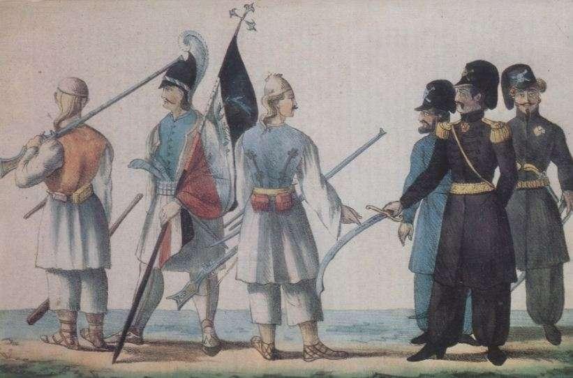 Ο Δημήτριος Υψηλάντης συνοδευόμενος από δύο αξιωματικούς δίνει διαταγές στον σημαιοφόρο του Κολοκοτρώνη.