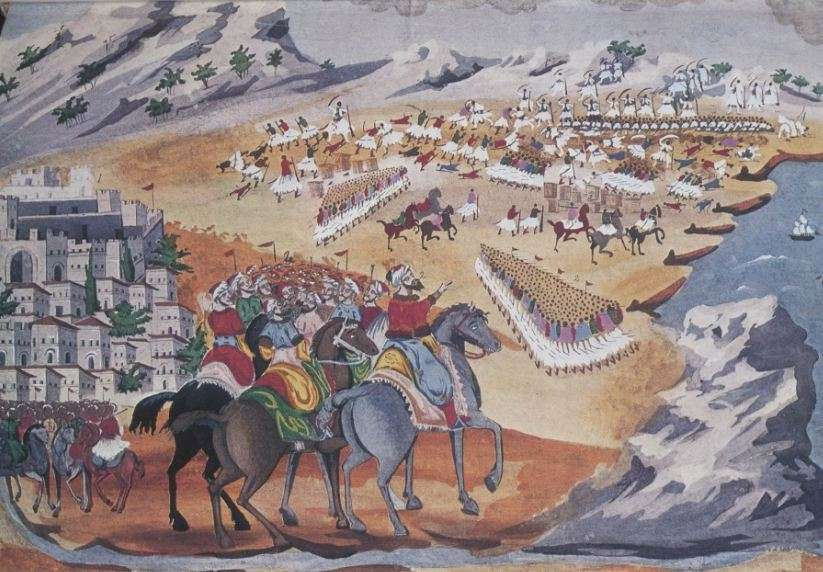 Η μάχη στη Λαγκάδα και στο Κομπότι. Πίνακας του Παν. Ζωγράφου με οδηγίες του Στρατηγού Μακρυγιάννη.