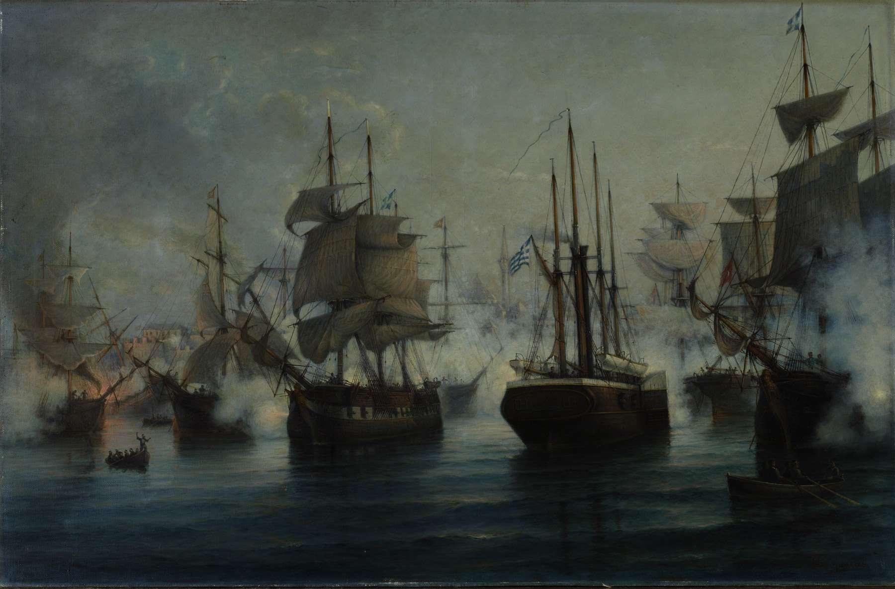 Η Καρτερία στη ναυμαχία της Ιτέας (μέσον-δεξιά). Όπως φαίνεται στον πίνακα πηγαίνει ενάντια στον άνεμο, λόγω της ατμοκίνησης, σε αντίθεση με τα άλλα δύο ελληνικά πλοία που είναι δίπλα.