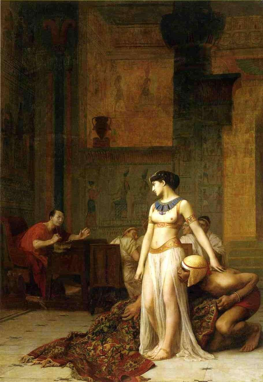 Η πρώτη συνάντηση Κλεοπάτρας και Ιουλίου Καίσαρα, έργο του Ζαν-Λεόν Ζερόμ, λάδι σε καμβά, 1866.