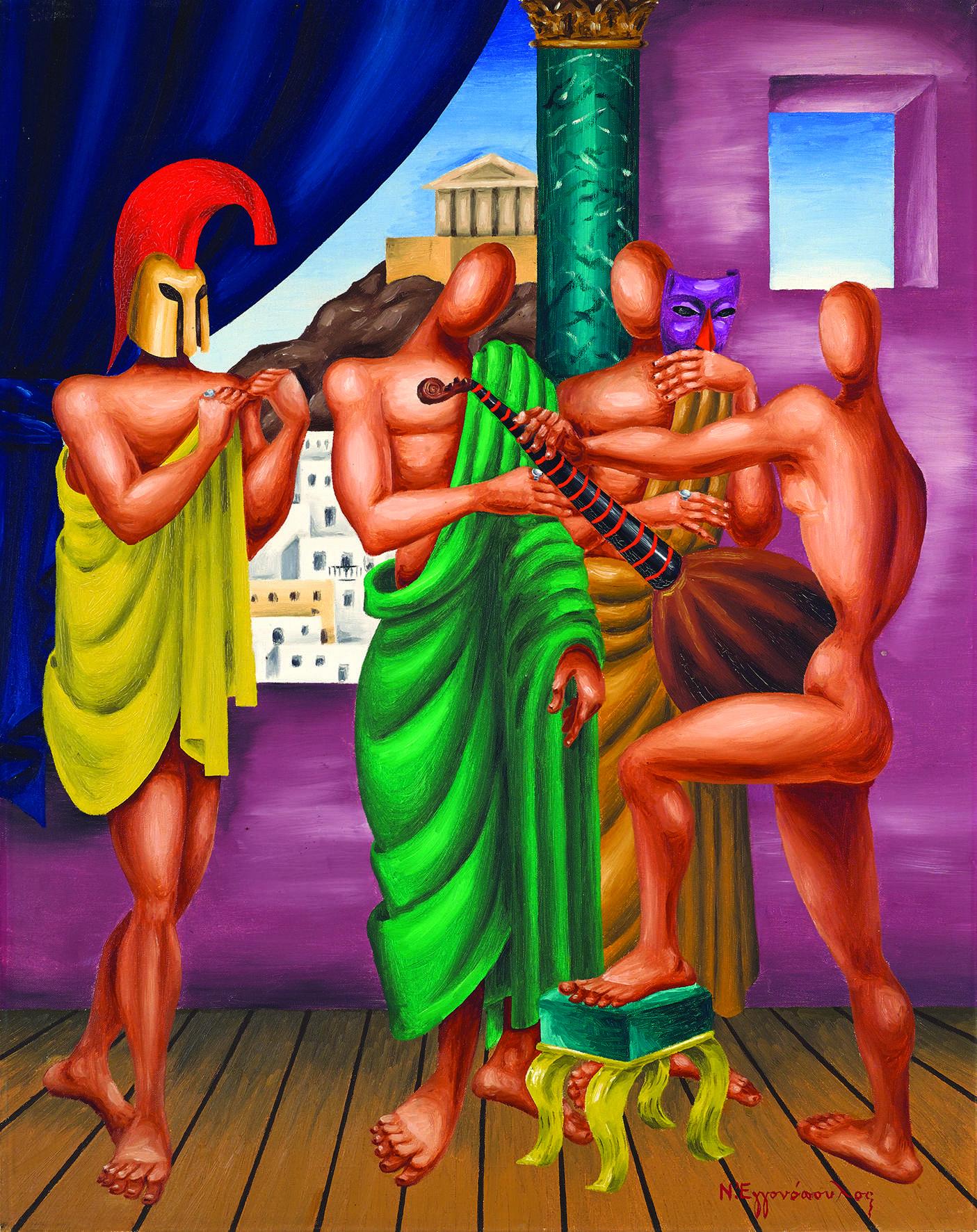Νίκος Εγγονόπουλος (21 Οκτωβρίου 1907 - 31 Οκτωβρίου 1985). Σύνθεσις, 1960 Λάδι σε καμβά, 92 x 73 εκ. Συλλογή Μανίτας Χατζηφωτίου
