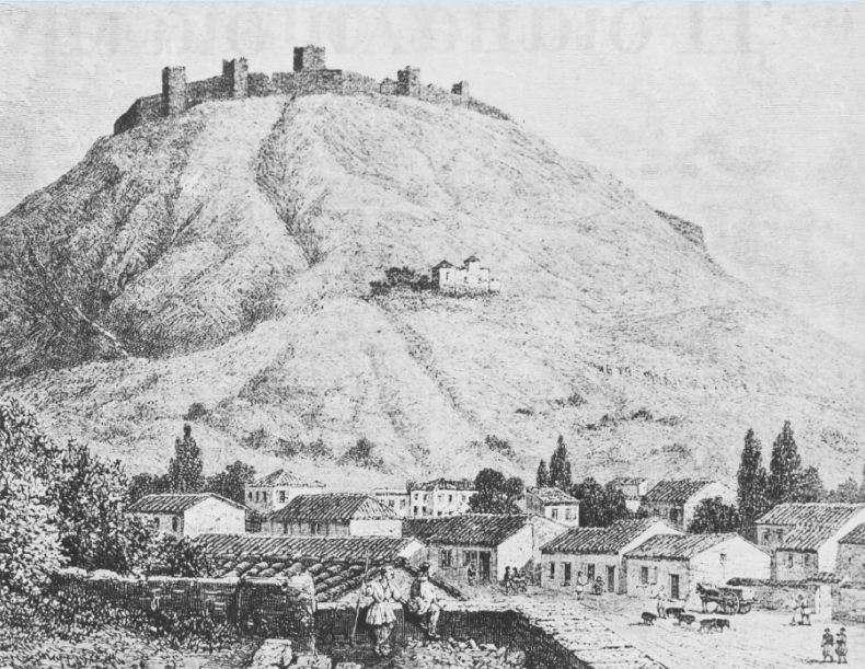 Άποψη του Άργους κατά την Επανάσταση του 1821. Διακρίνεται ο φράγκικος πύργος της Λάρισας. Έργο του Charles Henry Hanson.