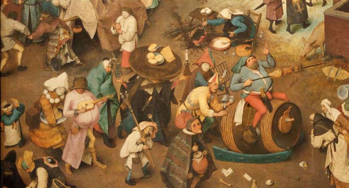 Η μάχη μεταξύ Καρναβαλιού και Σαρακοστής (λεπτομέρεια). Πίτερ Μπρίγκελ ο πρεσβύτερος.