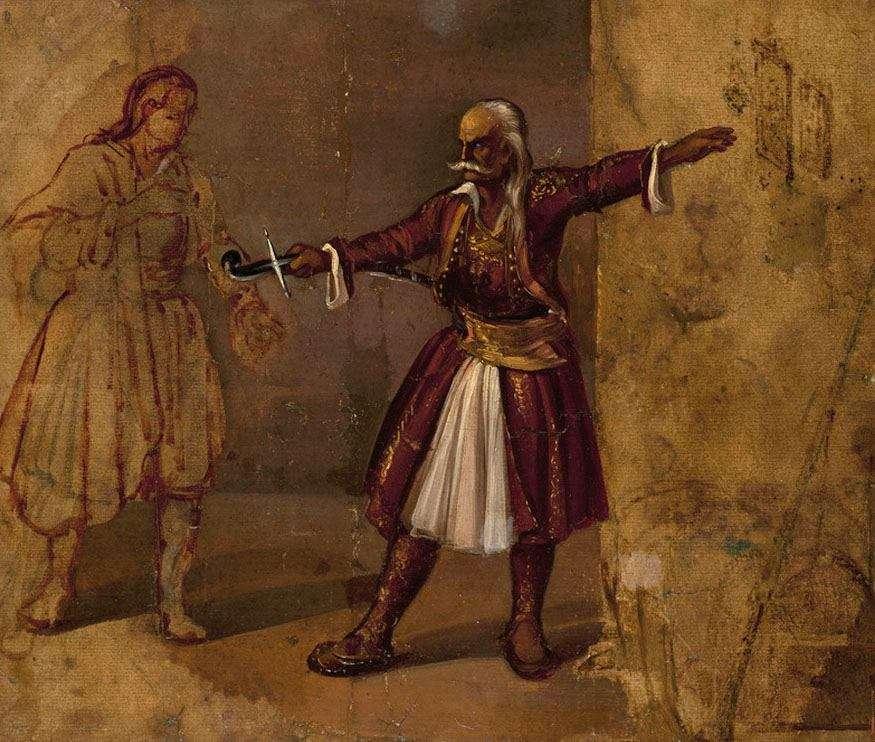 Διονύσιος Τσόκος. Ο Κολοκοτρώνης ορκίζει τον γιο του.