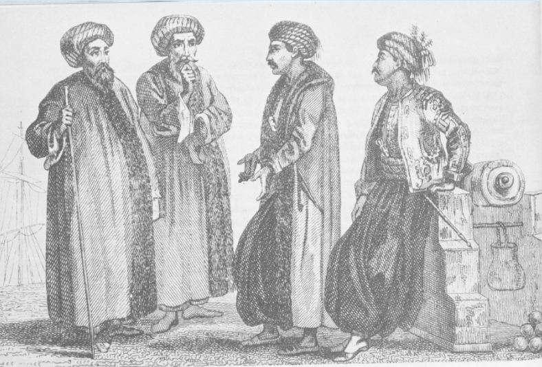 Αξιωματικοί και ναύτες του οθωμανικού ναυτικού γύρω στα 1821.