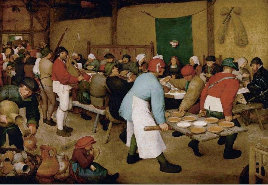 Πίτερ Μπρίγκελ ο πρεσβύτερος. (1525 με 1530 - 1569). Γάμος χωρικών (1568). Ελαιογραφία σε σανίδι βελανιδιάς•1,14 Χ 1,63μ. Αναγράφεται στον κατάλογο του 1659 της συλλογής του Λεοπόλδου Γουλιέλμου.