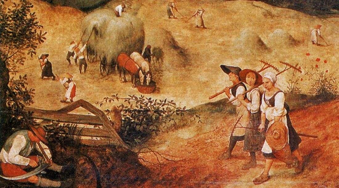 «Οι θεριστές» («Ιούλιος») Ο Πίτερ Μπρίγκελ ή Μπρέγκελ ο πρεσβύτερος (περ. 1525-1530 - Βρυξέλλες, 1569) ήταν Φλαμανδός ζωγράφος, σχεδιαστής και χαράκτης γνωστός για τα τοπία του και τις αγροτικές σκηνές. (λεπτομέρεια).
