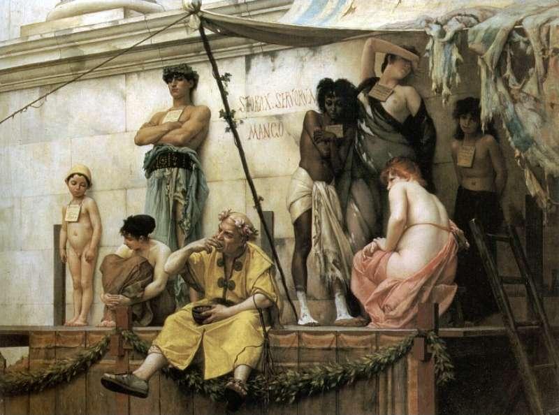 Στην αρχαία Ρώμη οι δούλοι αποτελούσαν τη βάση της κοινωνικής ιεραρχίας. Στην εικόνα απεικονίζεται μια σκηνή από ένα σκλαβοπάζαρο, όπως τη φαντάστηκε ο Gustave Clarence Rodolphe Boulanger (1824-1888)