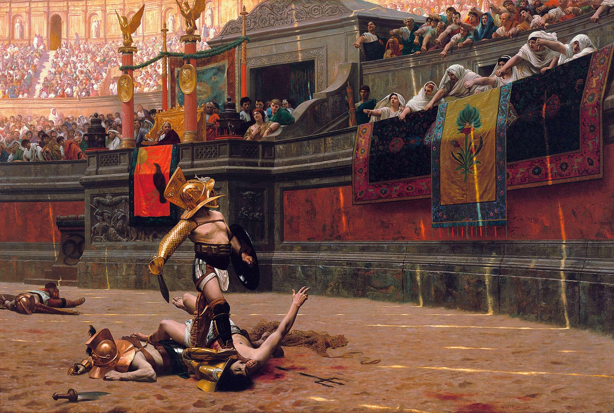 Καλλιτεχνική (όχι απαραίτητα ιστορική) αναπαράσταση των μονομαχιών στην Αρχαία Ρώμη. Έργο του Ζαν Λεόν Ζερόμ, (1872)