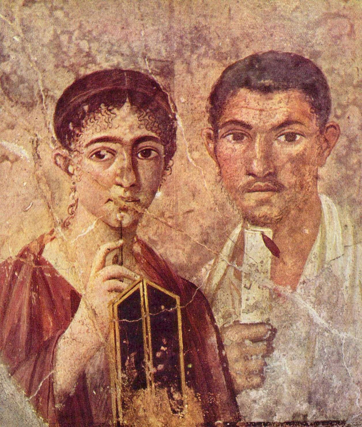 Πορτραίτο του Paquius Proculus και τη συζύγου του από την πόλη της Πομπηίας. Museo Archeologico Nazionale (Νάπολη), περ. 20-30 μ.Χ.