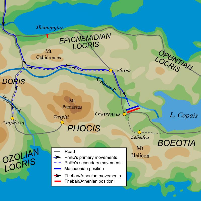 Μάχη της Χαιρώνειας (338 π.Χ.) Γραφική αναπαράσταση του σχεδίου της μάχης