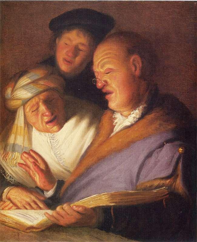 Ρέμπραντ Χάρμενσοον φαν Ράιν (15 Ιουλίου 1606 - 4 Οκτωβρίου 1669). Οι τρεις τραγουδιστές (Ακοή)