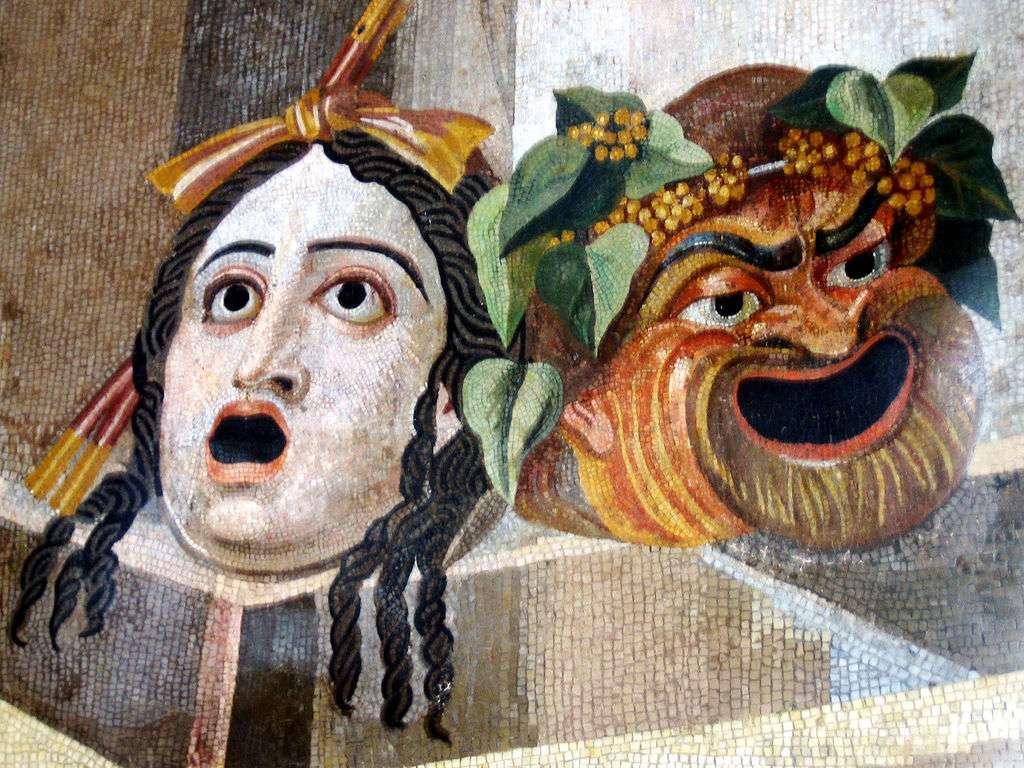 Θεατρικές μάσκες, μια για τραγωδία και μια για κωμωδία. Ρωμαϊκό ψηφιδωτό, από τα Λουτρά του Δέκιου στον Αβεντίνο Λόφο, 2ος αιώνας μ.Χ.