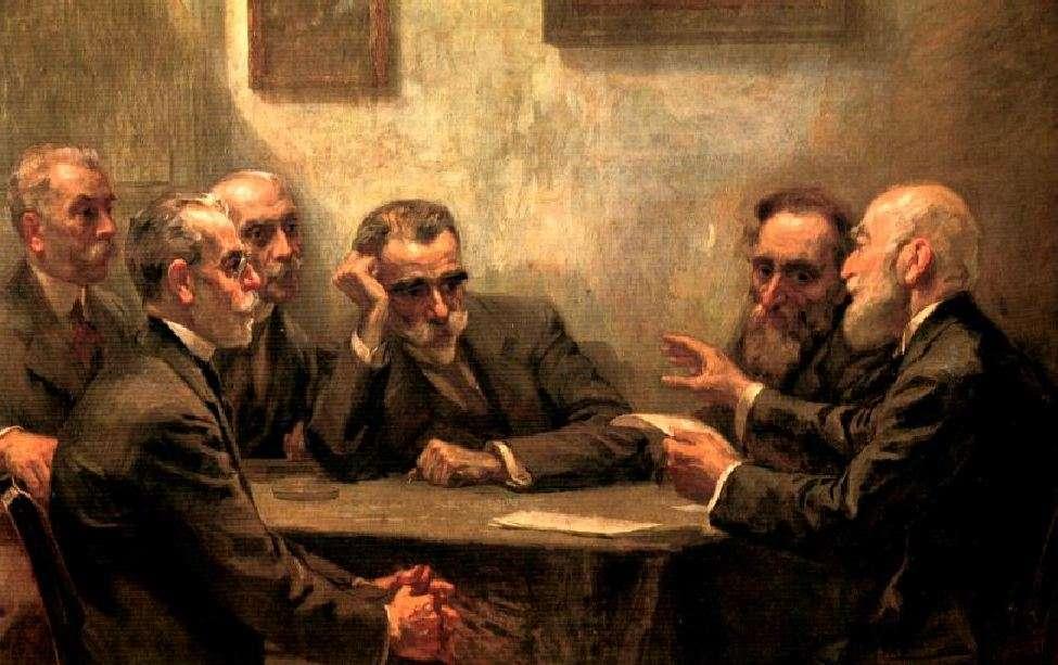 Γεώργιος Ροϊλός (Στεμνίτσα Γορτυνίας, 1867 – Αθήνα, 28 Αυγούστου 1928). «Οι ποιητές της γενιάς του 1880». εικονίζονται οι κυριότεροι εκπρόσωποι της γενιάς του 1880 (αριστερά οι Στρατήγης, Δροσίνης, Πολέμης και δεξιά οι Σουρής και Προβελέγγιος). Ο Κωστής Παλαμάς στο κέντρο.